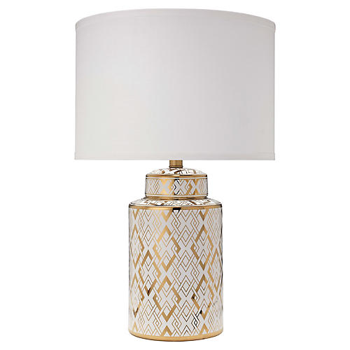 Astrid Table Lamp, Gold/White