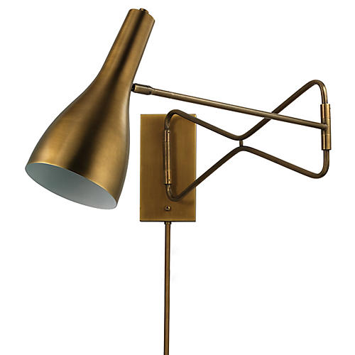 Lenz Swing-Arm Scone, Antiqued Brass