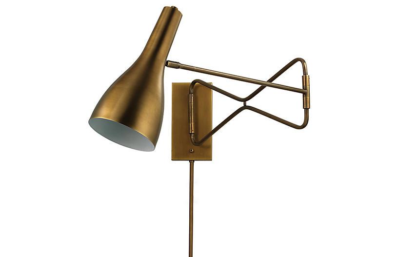 Lenz Swing-Arm Scone, Antiqued Brass