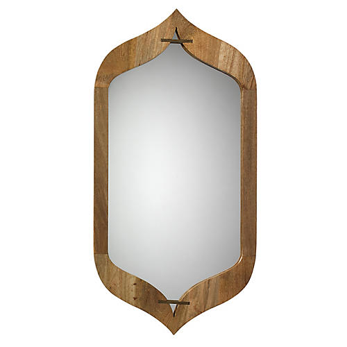 Jasmine Wall Mirror, Natural/Brass