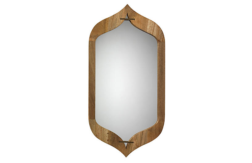 Jasmine Wall Mirror, Natural/Brass