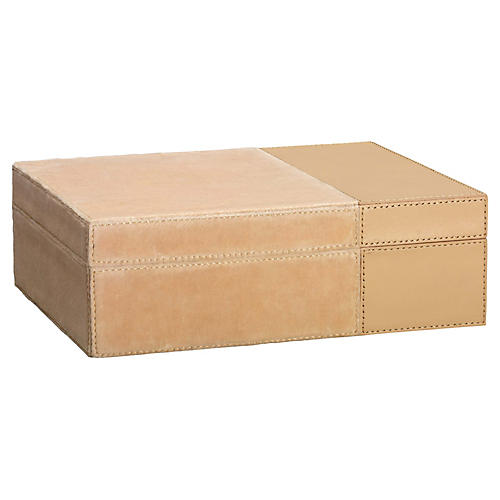 """10"""" Aria Velvet & Leather Box, Nude"""