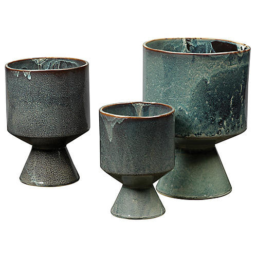 Asst. of 3 Berkeley Urns, Blue Glaze