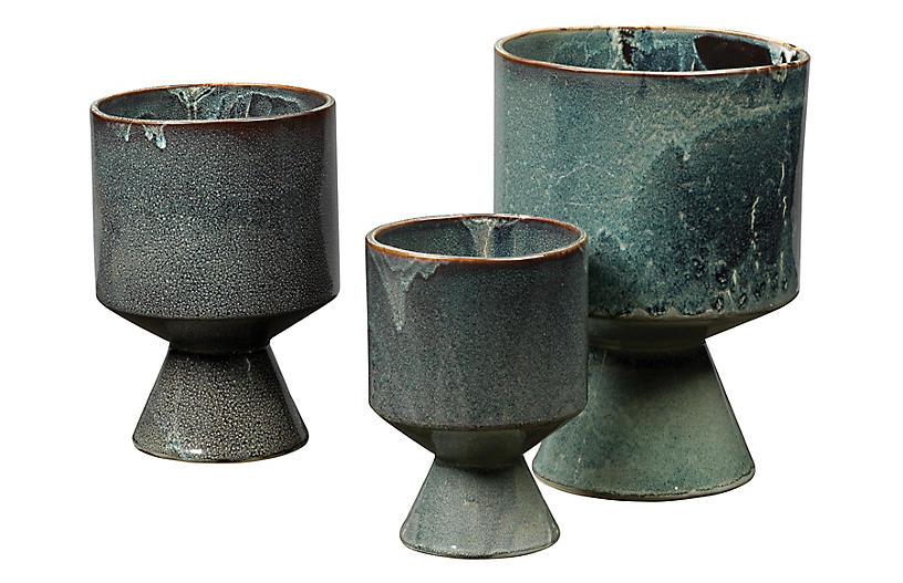 Asst. of 3 Berkeley Urns, Blue Glaze