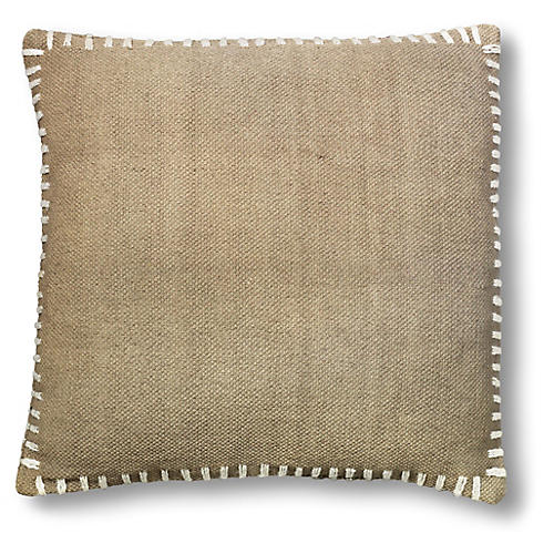 Whip-Stitched 18x18 Pillow, Beige
