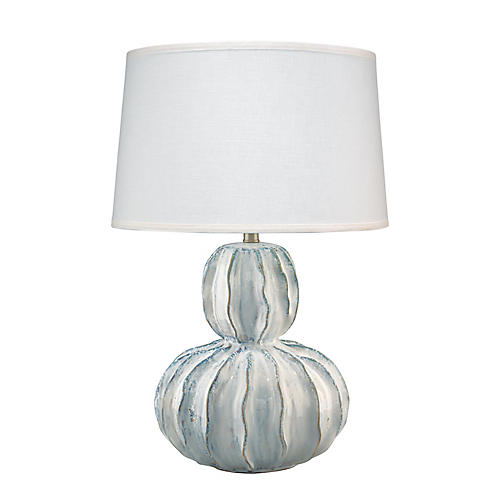 Oceane Gourd Table Lamp, White