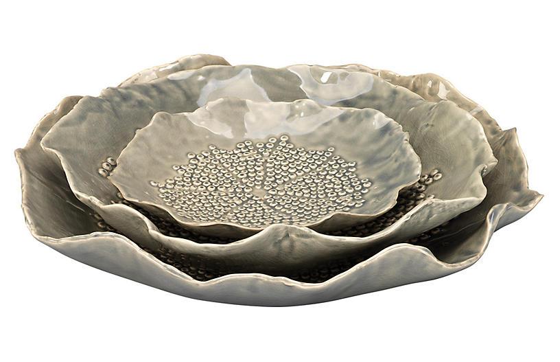 S/3 Tide Pool Bowls, Gray