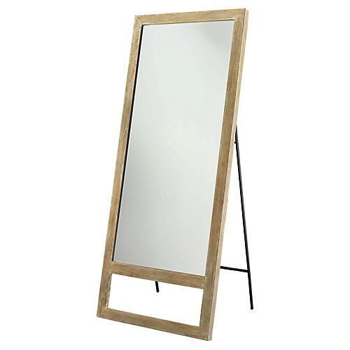 Austere Leaning Floor Mirror, Graywash