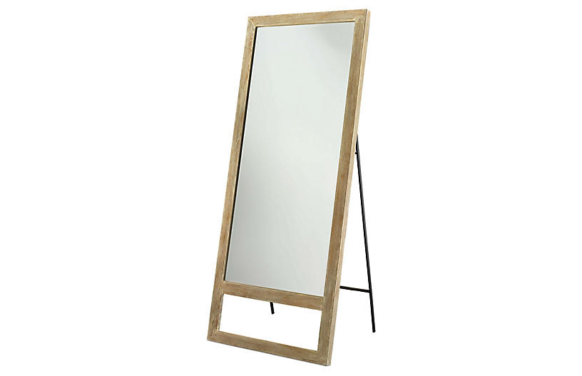 Austere Leaning Floor Mirror, Graywash