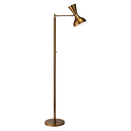 Pisa Swing-Arm Floor Lamp, Antiqued Brass