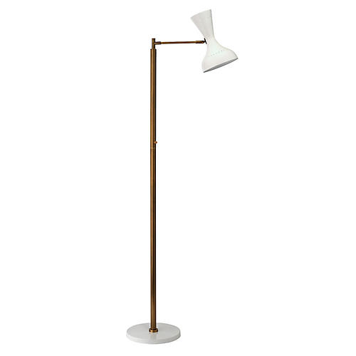 Pisa Swing-Arm Floor Lamp, White