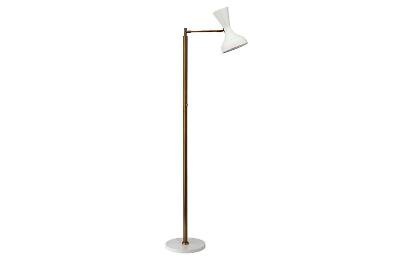 Pisa Swing-Arm Floor Lamp, White