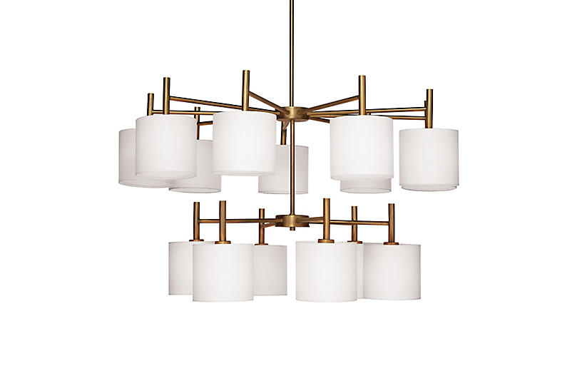 Ellis Two-Tier Chandelier, Antiqued Brass
