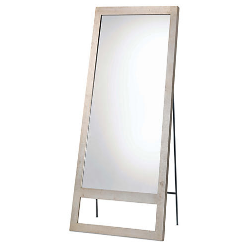 Austere Leaning Floor Mirror, Champagne Leaf
