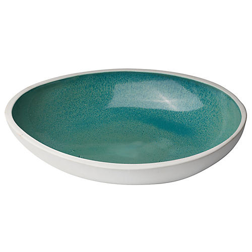 "14"" Mykonos High Rim Bowl, Blue"