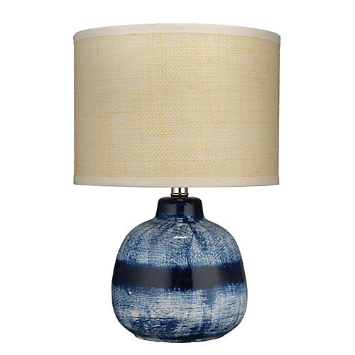 Batik Small Table Lamp, Indigo