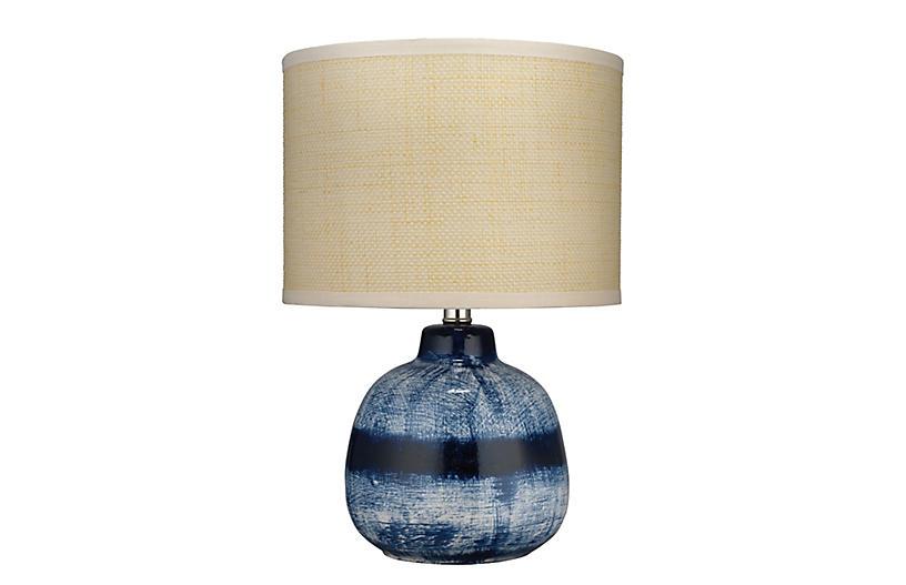 Batik Small Table Lamp, Indigo