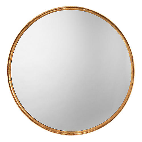 Refined Round Wall Mirror, Gold Leaf