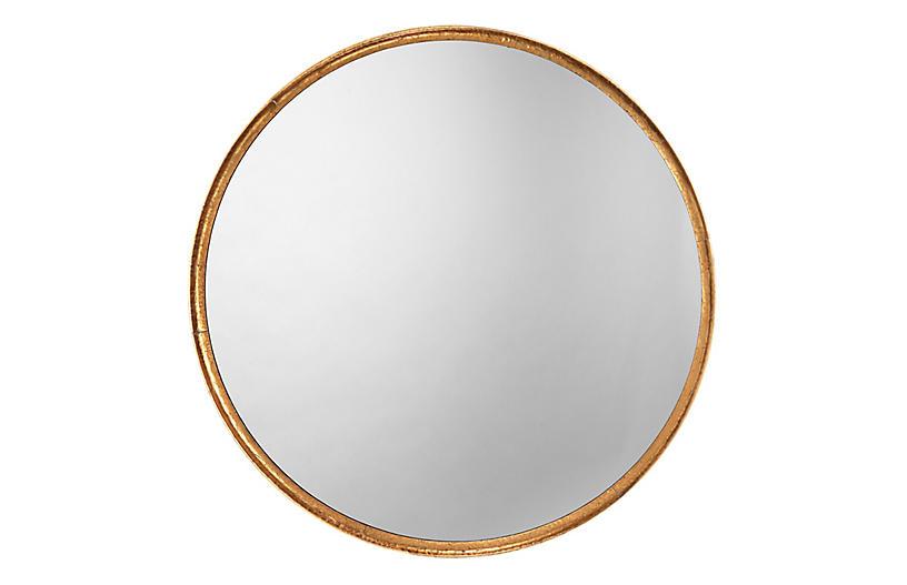 Refined Round Wall Mirror, Gold Leaf