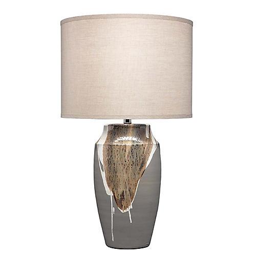 Landslide Table Lamp, Matte Grey/White Drip