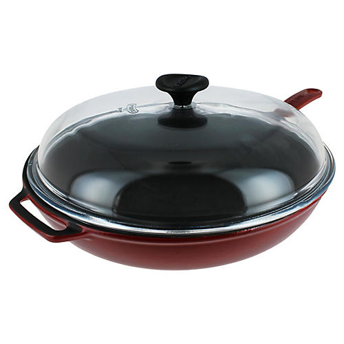 "17.5"" Chasseur Cast Iron Fry Pan w/ Lid, Red"