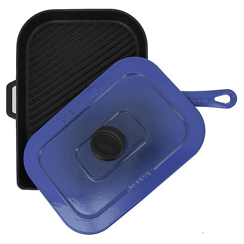 "15"" Chasseur Cast Iron Panini Press, French Blue"