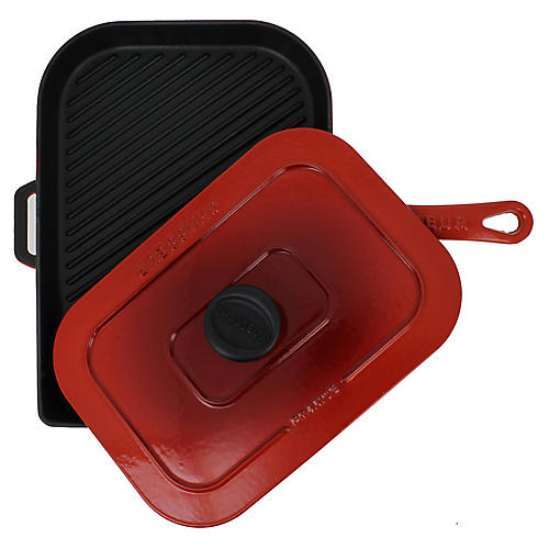 "15"" Chasseur Cast Iron Panini Press, Red"