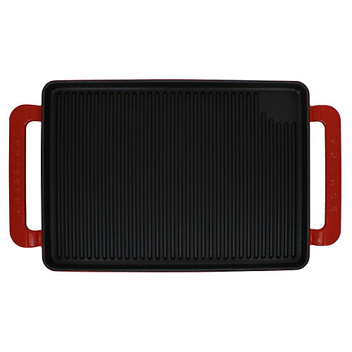 Chasseur Wide Cast Iron Grill Pan, Red