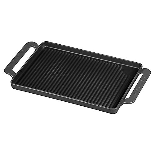 "16.5"" Chasseur Wide Cast Iron Grill Pan, Gray"