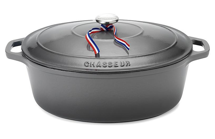 4-Qt Chasseur Oval Cast Iron Crockpot, Gray