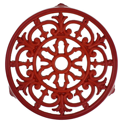 Chasseur Fleur De Lys Cast Iron Trivet, Red