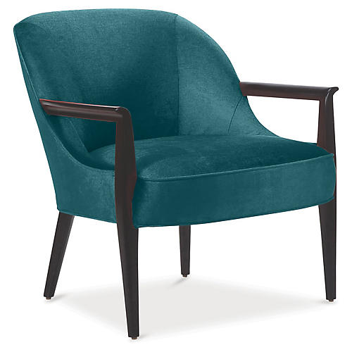Davenport Accent Chair, Peacock Velvet
