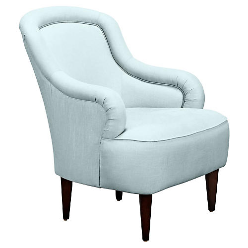 Drake Slipper Chair, Pale Aqua