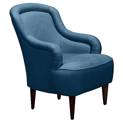 Drake Slipper Chair, Denim