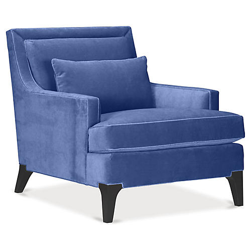 Norwich Accent Chair, Cobalt Velvet