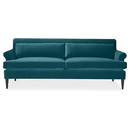 Pierce Sofa, Dark Turquoise Velvet