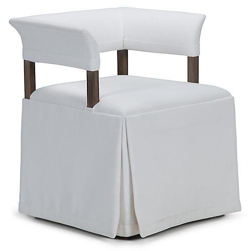 Jamie Mae Low-Back Armchair, White