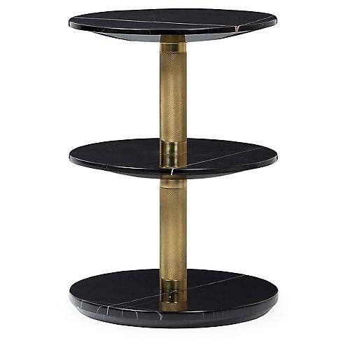 Wyman Side Table, Black/Brass