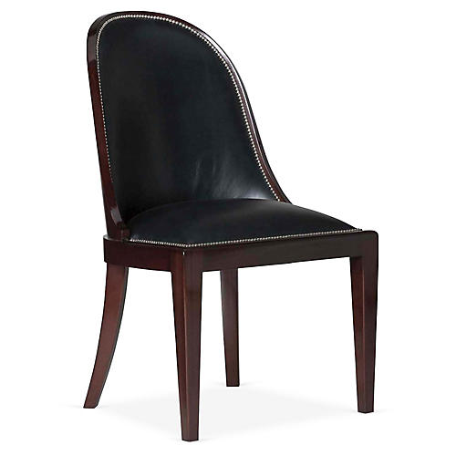 Cutler Side Chair, Black Leather