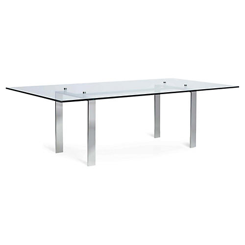 Langham Dining Table, Polished Stainless Steel
