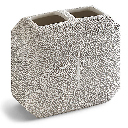 Shagreen Toothbrush Holder, Gray