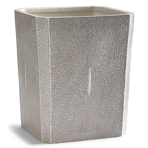Shagreen Wastebasket, Gray