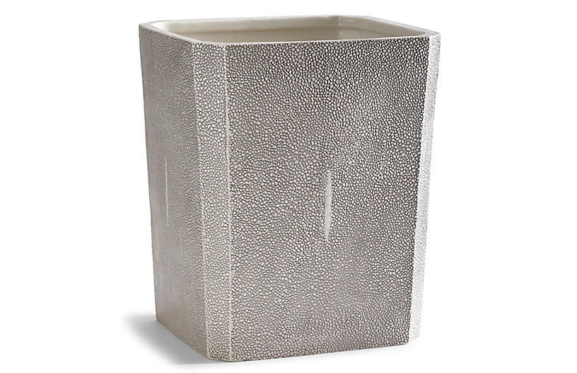 Shagreen Wastebasket, Gray