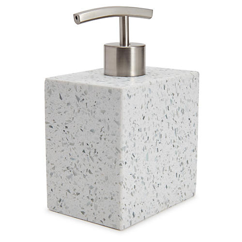 Terrazzo Lotion Dispenser, Light Gray