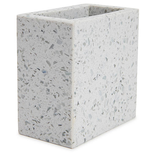 Terrazzo Toothbrush Holder, Light Gray
