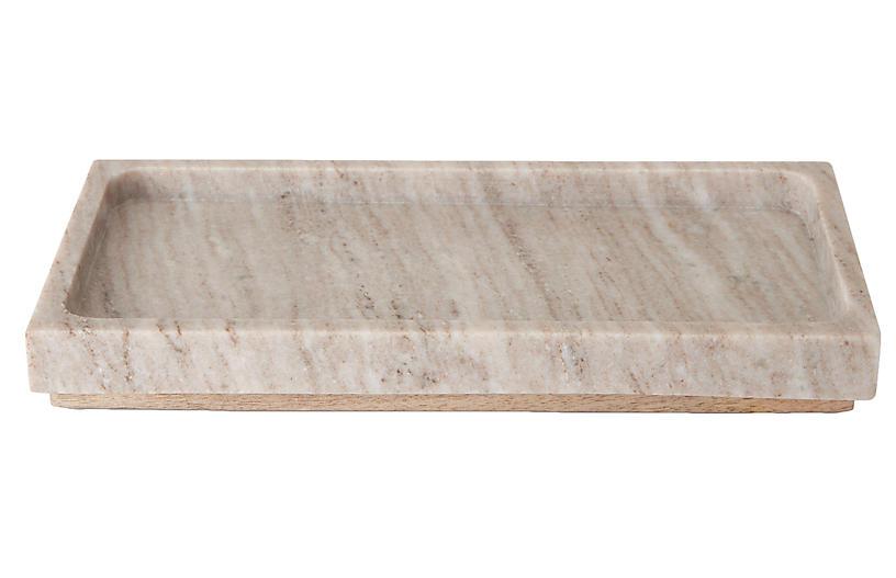 San Marino Marble & Wood Tray, Beige Marble/Wood