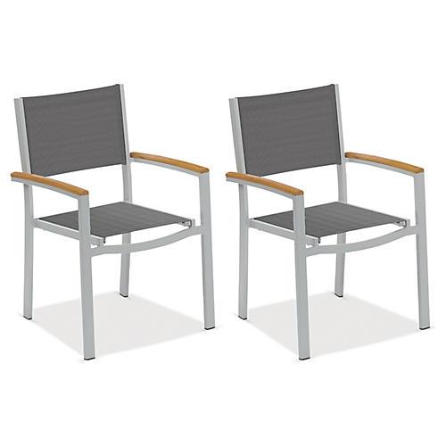 Gray Travira Armchairs w/Teak, Pair