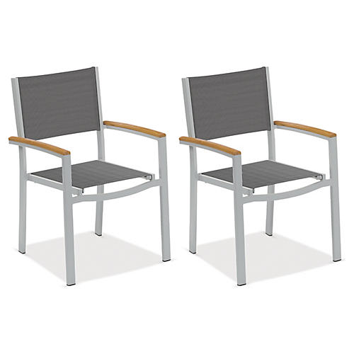 Gray Travira Armchairs w/Teak, Pair