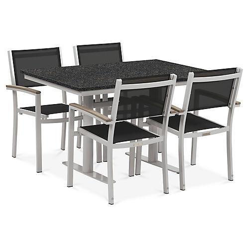 Travira 5-Pc Dining Set, Charcoal