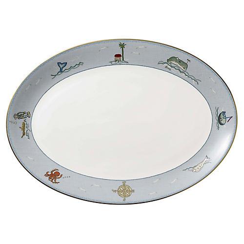 Sailor's Farewell Oval Platter, Blue/Multi